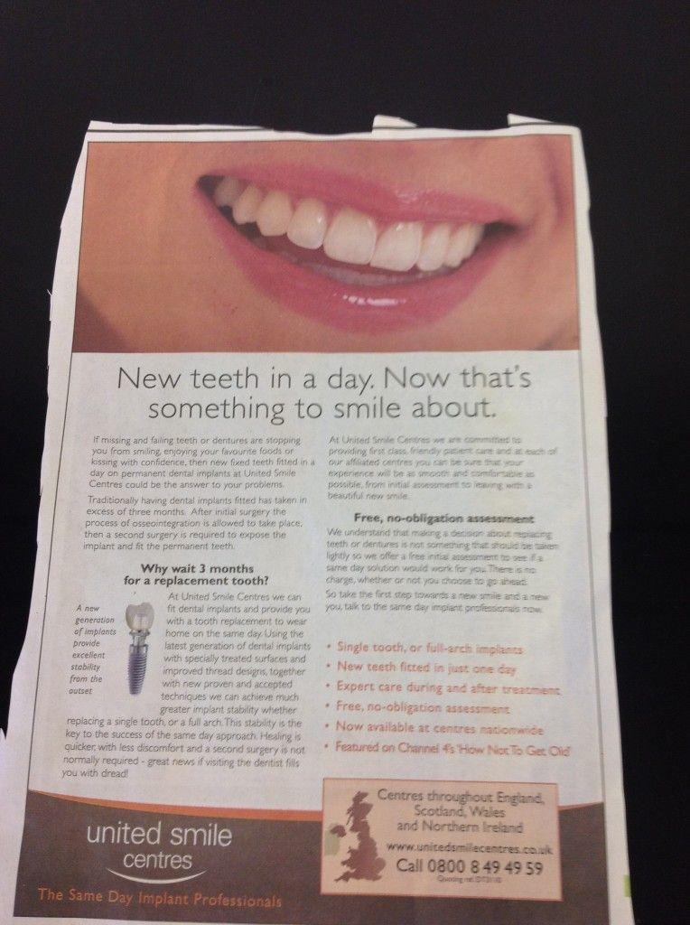 united smiles newpaper advert