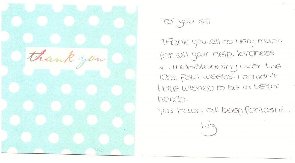 thankyou card from liz